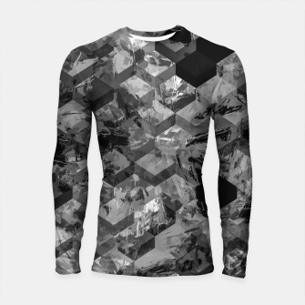 Thumbnail image of geometric square pattern abstract background in black and white Longsleeve rashguard , Live Heroes