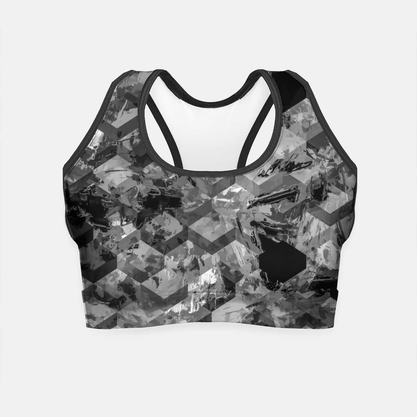 Image of geometric square pattern abstract background in black and white Crop Top - Live Heroes