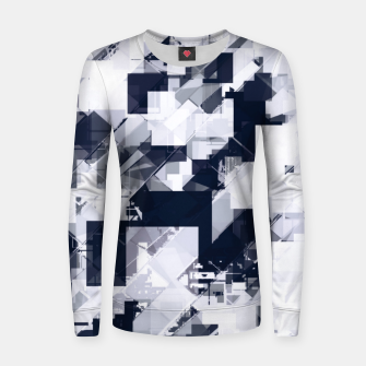 Thumbnail image of geometric square pixel pattern abstract background in black and white Women sweater, Live Heroes