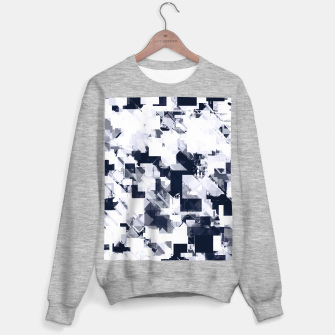 Thumbnail image of geometric square pixel pattern abstract background in black and white Sweater regular, Live Heroes