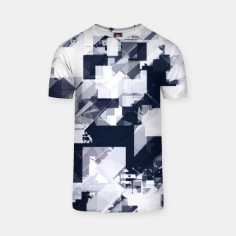 Thumbnail image of geometric square pixel pattern abstract background in black and white T-shirt, Live Heroes