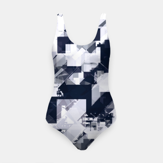 Thumbnail image of geometric square pixel pattern abstract background in black and white Swimsuit, Live Heroes