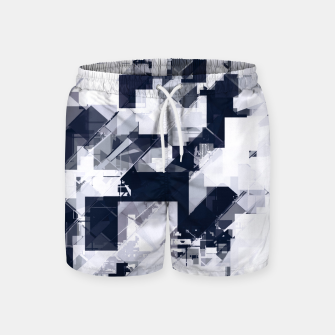 Thumbnail image of geometric square pixel pattern abstract background in black and white Swim Shorts, Live Heroes