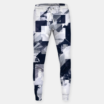 Thumbnail image of geometric square pixel pattern abstract background in black and white Sweatpants, Live Heroes