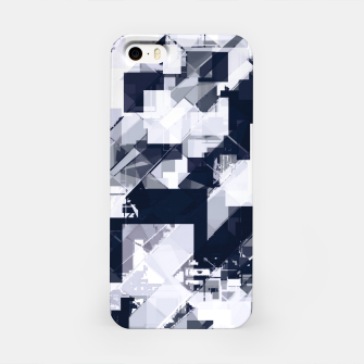 Thumbnail image of geometric square pixel pattern abstract background in black and white iPhone Case, Live Heroes