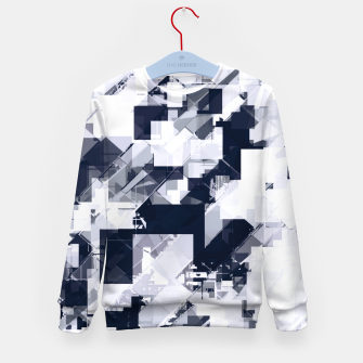Thumbnail image of geometric square pixel pattern abstract background in black and white Kid's sweater, Live Heroes
