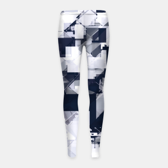 Thumbnail image of geometric square pixel pattern abstract background in black and white Girl's leggings, Live Heroes