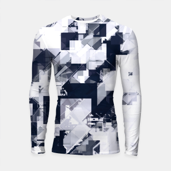 Thumbnail image of geometric square pixel pattern abstract background in black and white Longsleeve rashguard , Live Heroes