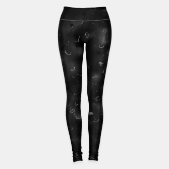 painting texture abstract background in black and white Leggings miniature