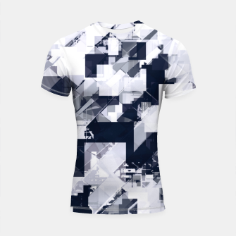 Thumbnail image of geometric square pixel pattern abstract background in black and white Shortsleeve rashguard, Live Heroes