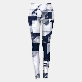 Thumbnail image of geometric square pixel pattern abstract background in black and white Leggings, Live Heroes