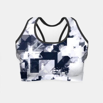 Thumbnail image of geometric square pixel pattern abstract background in black and white Crop Top, Live Heroes