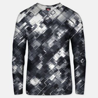 Thumbnail image of geometric square pixel pattern abstract in black and white Unisex sweater, Live Heroes
