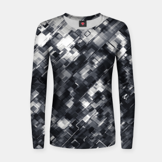 Thumbnail image of geometric square pixel pattern abstract in black and white Women sweater, Live Heroes