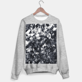 Thumbnail image of geometric square pixel pattern abstract in black and white Sweater regular, Live Heroes