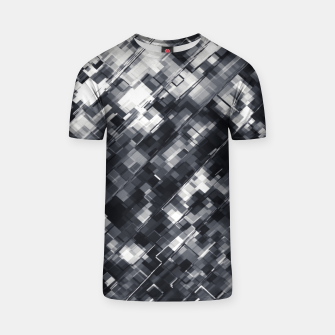Thumbnail image of geometric square pixel pattern abstract in black and white T-shirt, Live Heroes
