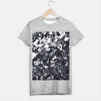 Thumbnail image of geometric square pixel pattern abstract in black and white T-shirt regular, Live Heroes