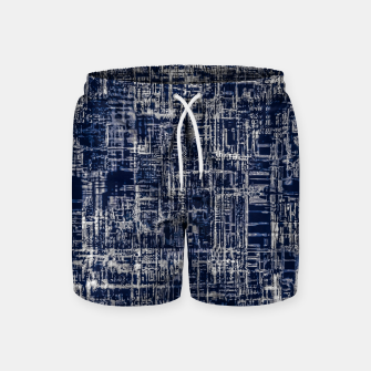 Thumbnail image of geometric line art texture abstract background in black and white Swim Shorts, Live Heroes