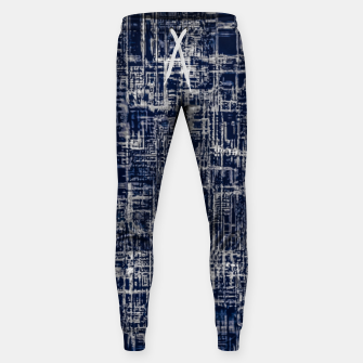 Thumbnail image of geometric line art texture abstract background in black and white Sweatpants, Live Heroes