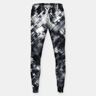 Thumbnail image of geometric square pixel pattern abstract in black and white Sweatpants, Live Heroes