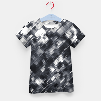 Thumbnail image of geometric square pixel pattern abstract in black and white Kid's t-shirt, Live Heroes
