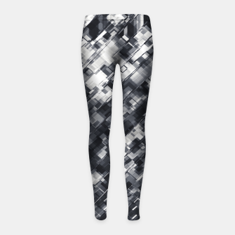 Thumbnail image of geometric square pixel pattern abstract in black and white Girl's leggings, Live Heroes