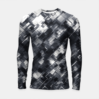 Thumbnail image of geometric square pixel pattern abstract in black and white Longsleeve rashguard , Live Heroes