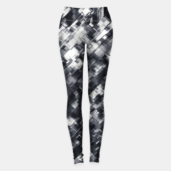 Thumbnail image of geometric square pixel pattern abstract in black and white Leggings, Live Heroes