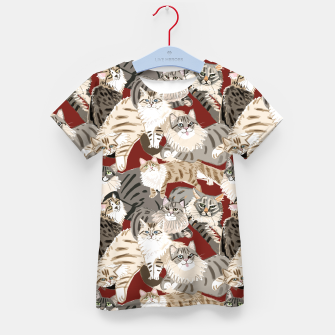 Thumbnail image of Cats Paradise Pattern Red Camiseta para niños, Live Heroes