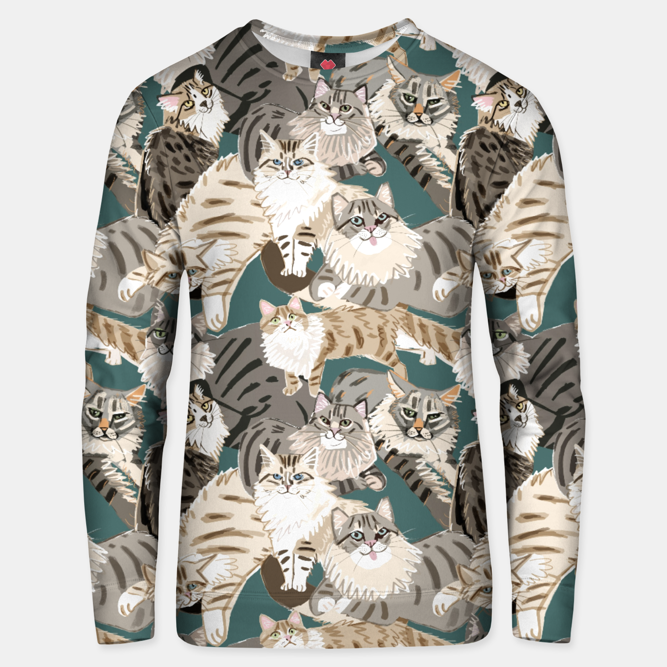 Image of Cats Paradise Pattern Teal Sudadera unisex - Live Heroes