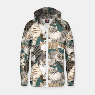 Thumbnail image of Cats Paradise Pattern Teal Sudadera con capucha y cremallera , Live Heroes