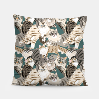 Thumbnail image of Cats Paradise Pattern Teal Almohada, Live Heroes