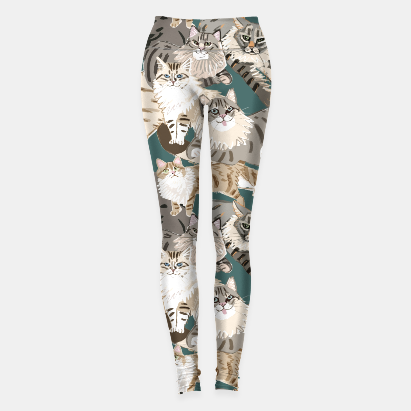 Image of Cats Paradise Pattern Teal Leggings - Live Heroes