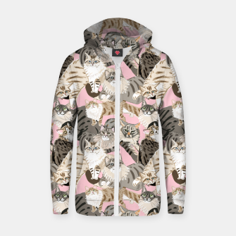 Thumbnail image of Cats Paradise Pattern Light  Pink Sudadera con capucha y cremallera , Live Heroes