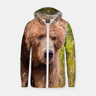 Thumbnail image of Brown Bear Zip up hoodie, Live Heroes