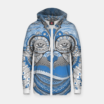 Thumbnail image of  Monkey blue head Sudadera con capucha y cremallera , Live Heroes