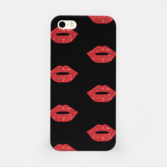 Miniaturka Bright Red Lips Glitter Kisses Elegant Feminine Girly Makeup iPhone Case, Live Heroes