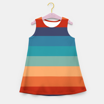 Thumbnail image of Rainbow Stripes Vintage Colors Old Style Colorful Geometric Girl's summer dress, Live Heroes