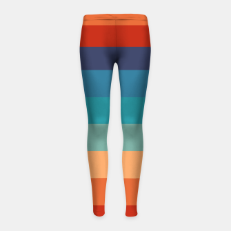 Thumbnail image of Rainbow Stripes Vintage Colors Old Style Colorful Geometric Girl's leggings, Live Heroes