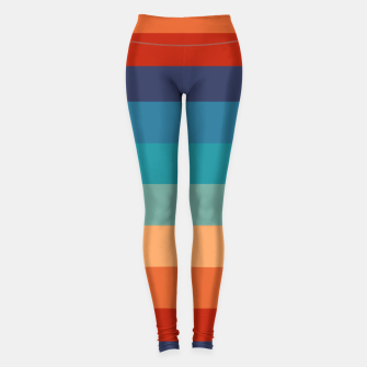Thumbnail image of Rainbow Stripes Vintage Colors Old Style Colorful Geometric Leggings, Live Heroes