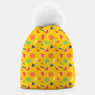 Miniatur Geometric Shapes Retro Colors Party Vibes Colorful Confetti Beanie, Live Heroes