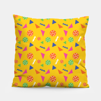 Miniatur Geometric Shapes Retro Colors Party Vibes Colorful Confetti Pillow, Live Heroes