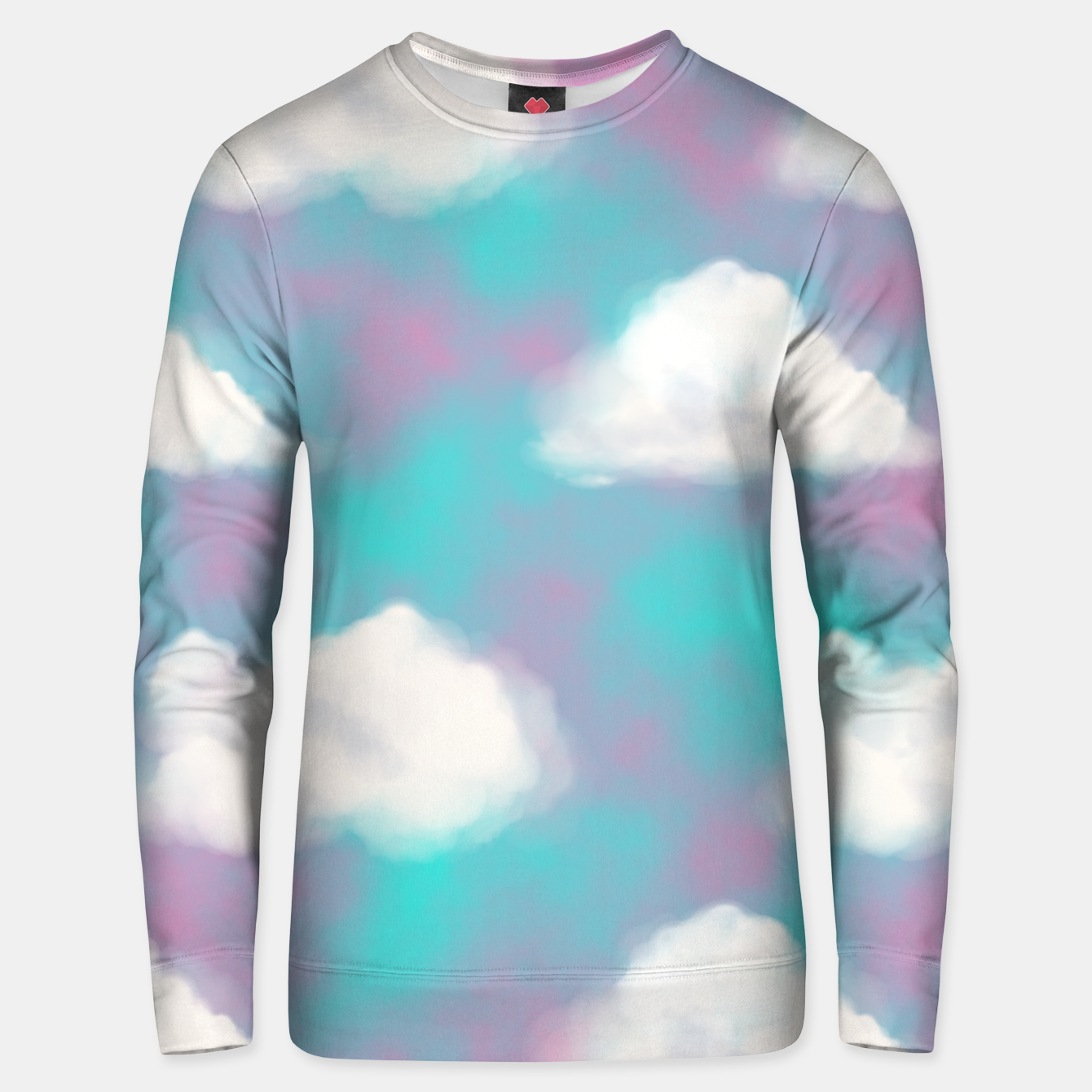 Image of White Clouds Watercolor Sky Aesthetic Dream Teal Blue Unisex sweater - Live Heroes