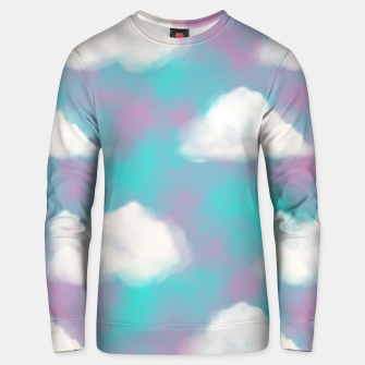 Imagen en miniatura de White Clouds Watercolor Sky Aesthetic Dream Teal Blue Unisex sweater, Live Heroes