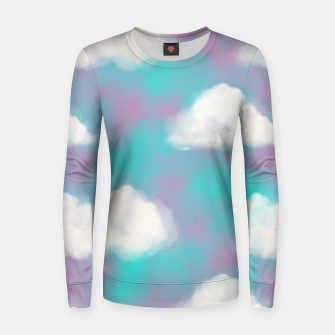 Imagen en miniatura de White Clouds Watercolor Sky Aesthetic Dream Teal Blue Women sweater, Live Heroes