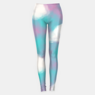 Miniature de image de White Clouds Watercolor Sky Aesthetic Dream Teal Blue Leggings, Live Heroes