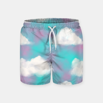 Miniature de image de White Clouds Watercolor Sky Aesthetic Dream Teal Blue Swim Shorts, Live Heroes