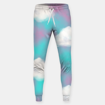 Miniature de image de White Clouds Watercolor Sky Aesthetic Dream Teal Blue Sweatpants, Live Heroes