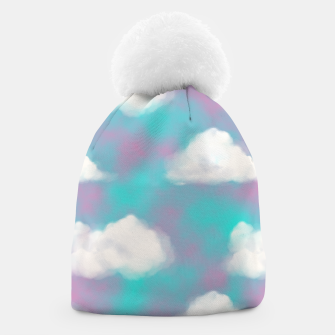 Miniature de image de White Clouds Watercolor Sky Aesthetic Dream Teal Blue Beanie, Live Heroes