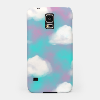 Miniature de image de White Clouds Watercolor Sky Aesthetic Dream Teal Blue Samsung Case, Live Heroes